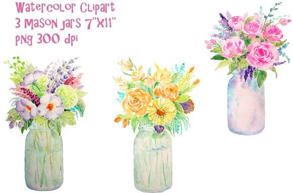 Mason Jar clipart mint green On of Jar Vase Flowers