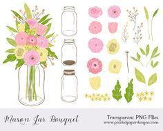 Mason Jar clipart mint green Clipart wedding clip floral