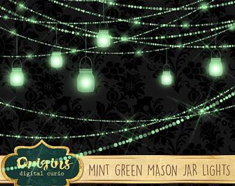 Mason Jar clipart mint green String Light banners Lights mason