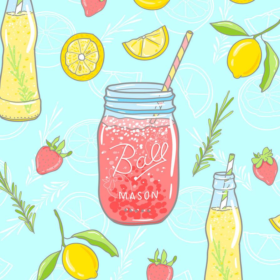 Water Color clipart mason jar lemonade  by seamless  illustration