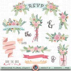 Mason Jar clipart rsvp Bouquet Birdcage Wedding Laurel Wreaths
