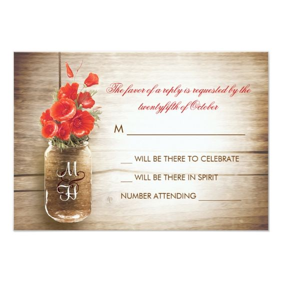 Mason Jar clipart rsvp Card Pinterest Cards on and