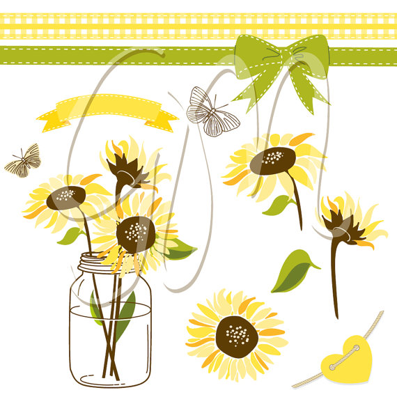 Mason Jar clipart southern Commercial Clip Sunflowers Clip invitations