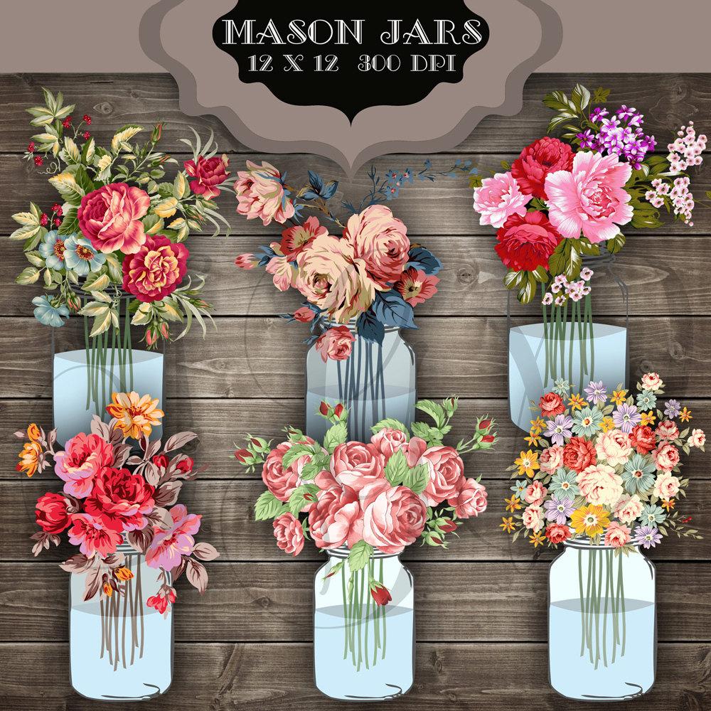 Mason Jar clipart transparent background Invitations transparent Mason Clipart Bouquet