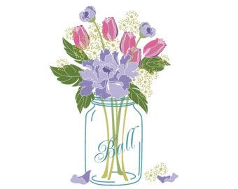Mason Jar clipart transparent background Art art/ Digital Bouquet /