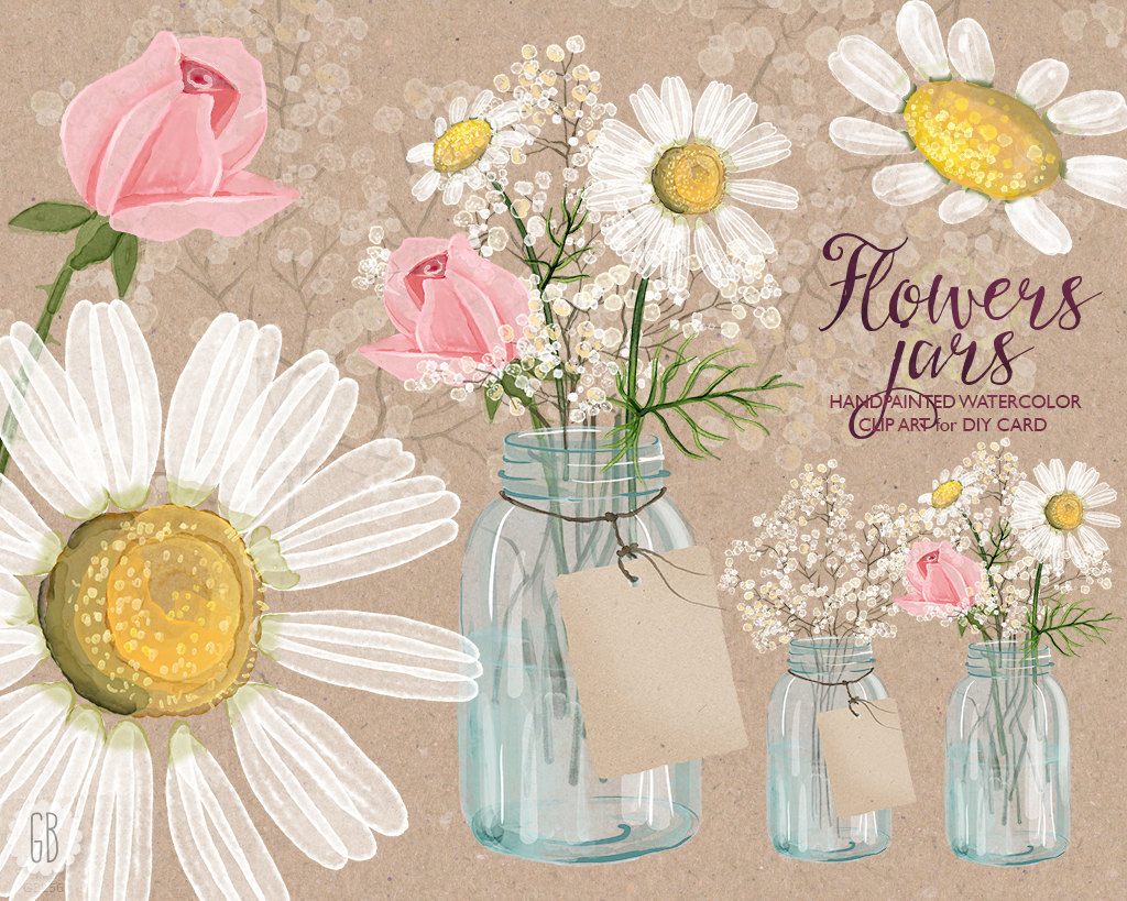 Camomile clipart real Jar baby Etsy Mason camomile