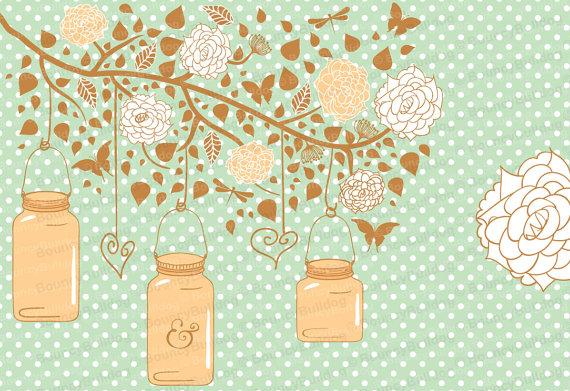 Peach Flower clipart peach heart Jar hanging mason Flowers