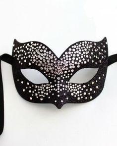 Masquerade clipart black mask  Silver And Swarovski Venetian