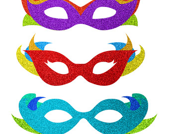 Masquerade clipart carnival mask Glitter Commercial Download Gras mask