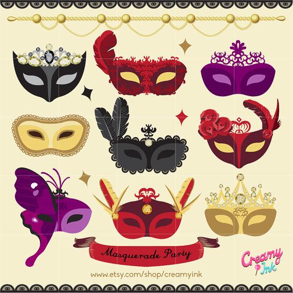 Mask clipart party Il_570xn art  Digital Mask
