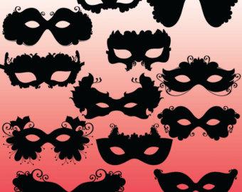Masquerade clipart silhouette Venetian Mask Gras Mardi Masquerade