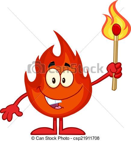 Match clipart cartoon Match Flaming Stick of Fire