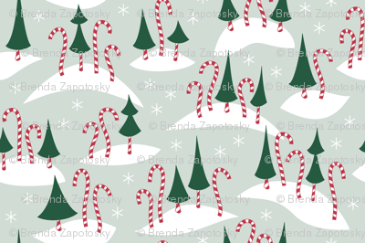 Mauve clipart candy cane Spoonflower fabric Candy Forest (Festive)