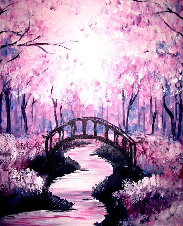 Drawn sakura blossom landscape Painting Art Pin under Bridge