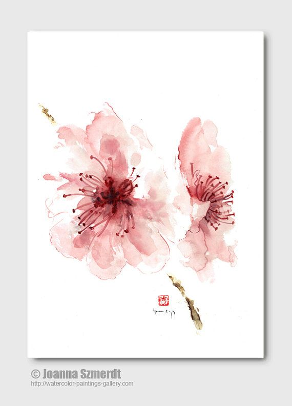 Cherry Tree clipart watercolor Painting watercolor decor wall clipart