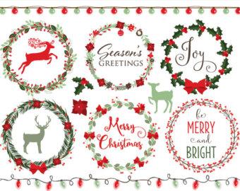 Poinsettia clipart christmas greens Festive berries Christmas Christmas Etsy