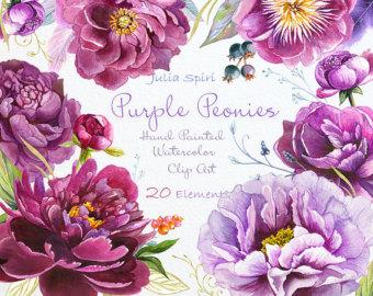 Mauve clipart eraser Peonies Clipart Invitation Floral Purple