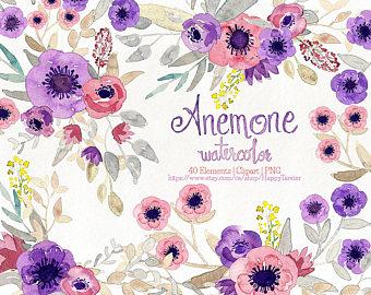 Mauve clipart eraser Anemone Floral Purple Etsy Flowers