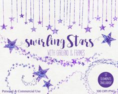 Mauve clipart garland STAR WATERCOLOR Commercial Baby Tropical