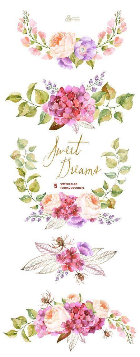 Bouquet clipart marriage flower BouquetsPurple hydrangea invitation Watercolor 5