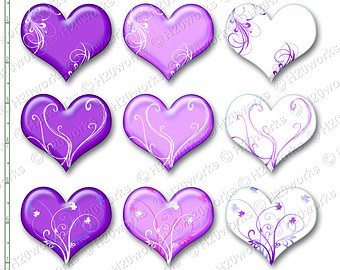 Swirl clipart lavender Etsy Set Hearts & Clipart
