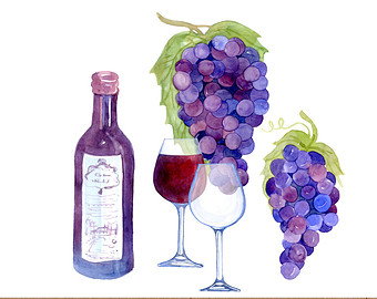 Vineyard clipart agriculture Art Vineyard Watercolor Wine Clipart