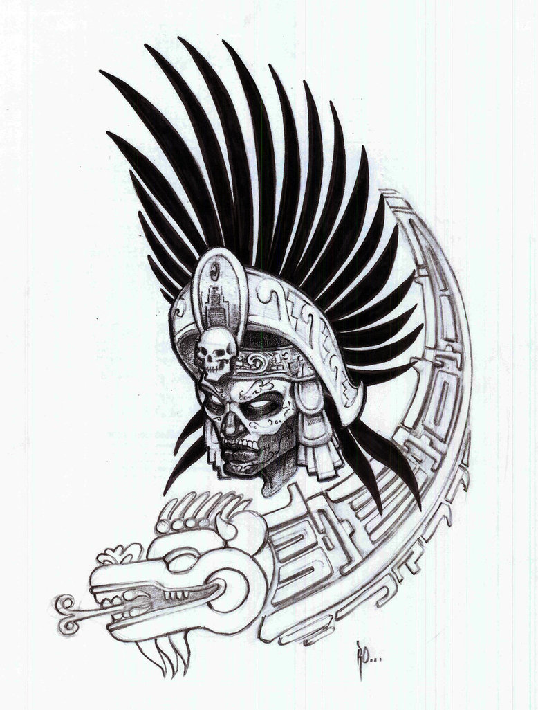 Aztec clipart drawing Warrior white drawing black aztec