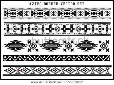 Aztec Warrior clipart border Black black Graphics Art set