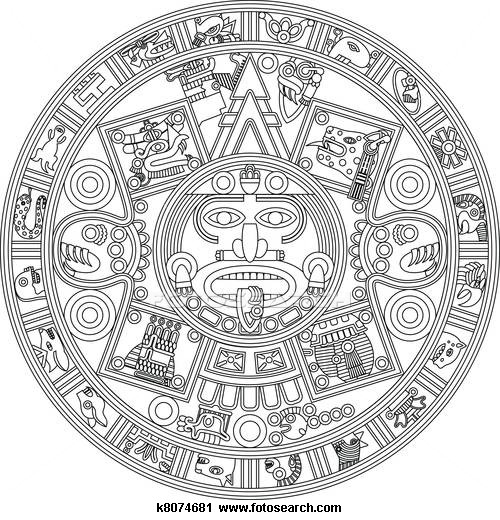Sketch clipart calendar Mayan Line Mayan Illustration k8074681