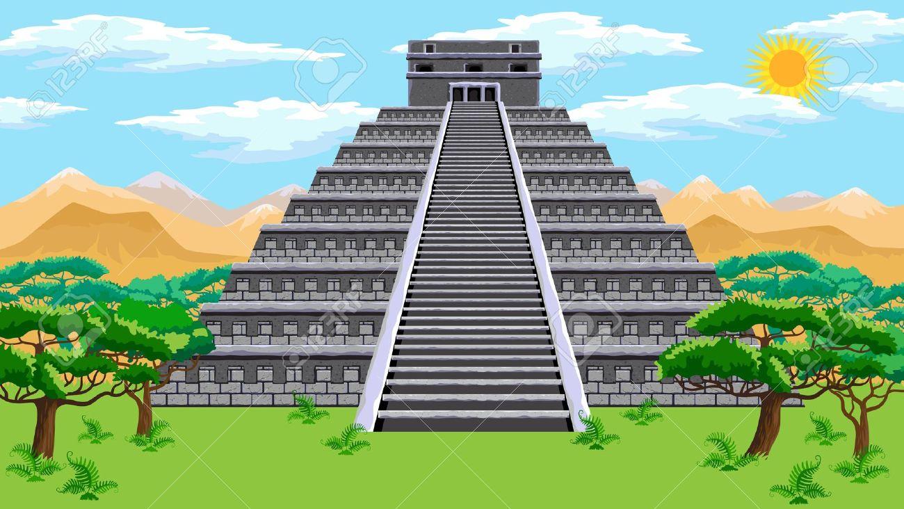 Drawn pyramid maya temple Clipartwork Images Pyramid Aztec Free