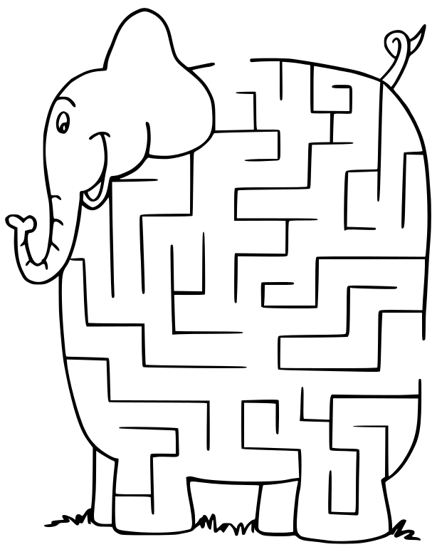 Maze clipart black and white Clip Maze Art Elephant Download