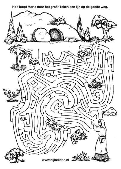 Drawn maze jesus Tomb of Empty Mary walks