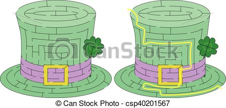 Maze clipart green Vector maze hat with for