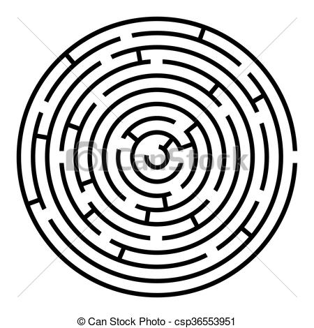 Maze clipart round Template Black vector and csp36553951