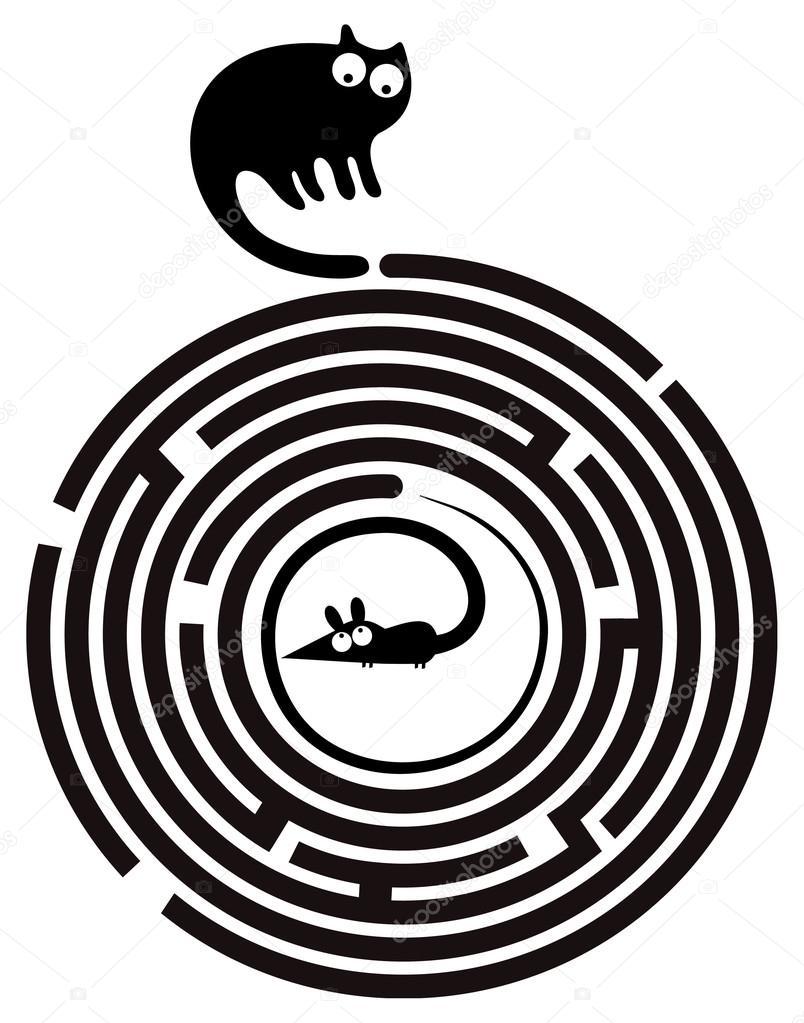Maze clipart round Maze Funny round cat —