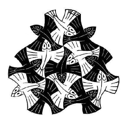 M.c.escher clipart black and white C 7 # on Escher