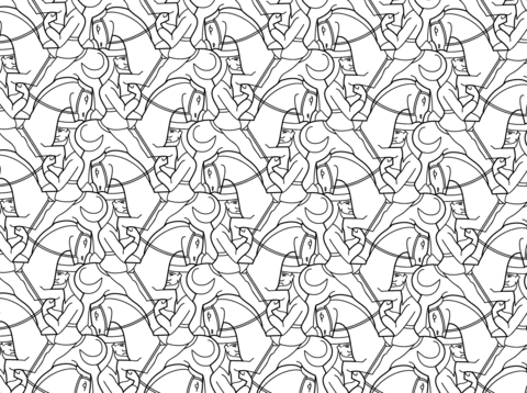 M.c.escher clipart black and white Tessellation Click coloring version Horseman