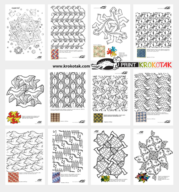 M.c.escher clipart chicken Let's Draw Draw Coloring STYLE