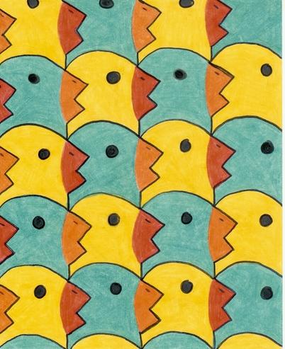 M.c.escher clipart duck Images images Tierparkett Escher Pinterest