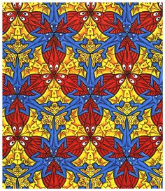 M.c.escher clipart glass 85) Bat Lizard and Escher