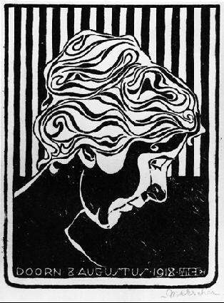 M.c.escher clipart magnifying glass Cut Stolk picture Linoleum Fiet