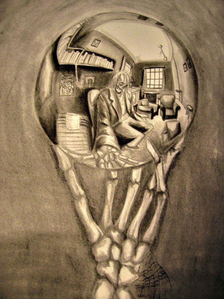 M.c.escher clipart minion Reflecting Hand Art images Reflecting