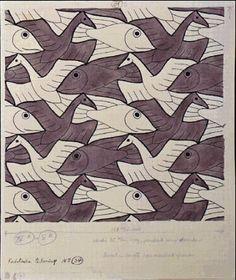 M.c.escher clipart panda –  Fish Escher Fish