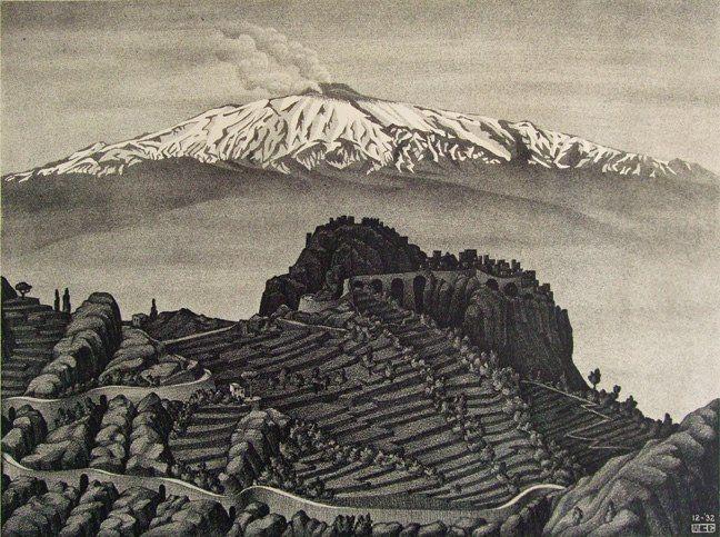 M.c.escher clipart rock 1932 Etna Castel images and