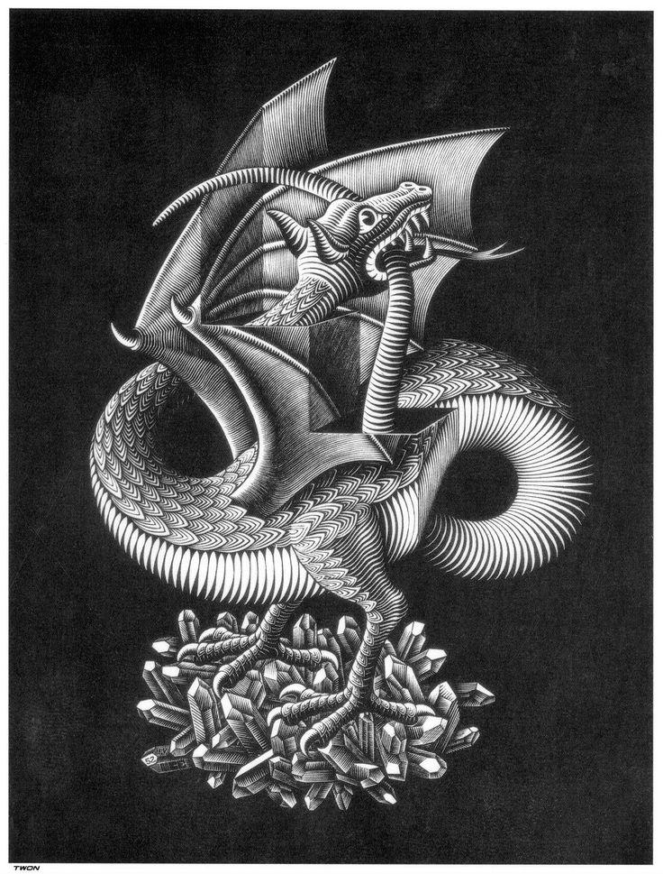M.c.escher clipart shoe Pinterest 32 Dragon C best
