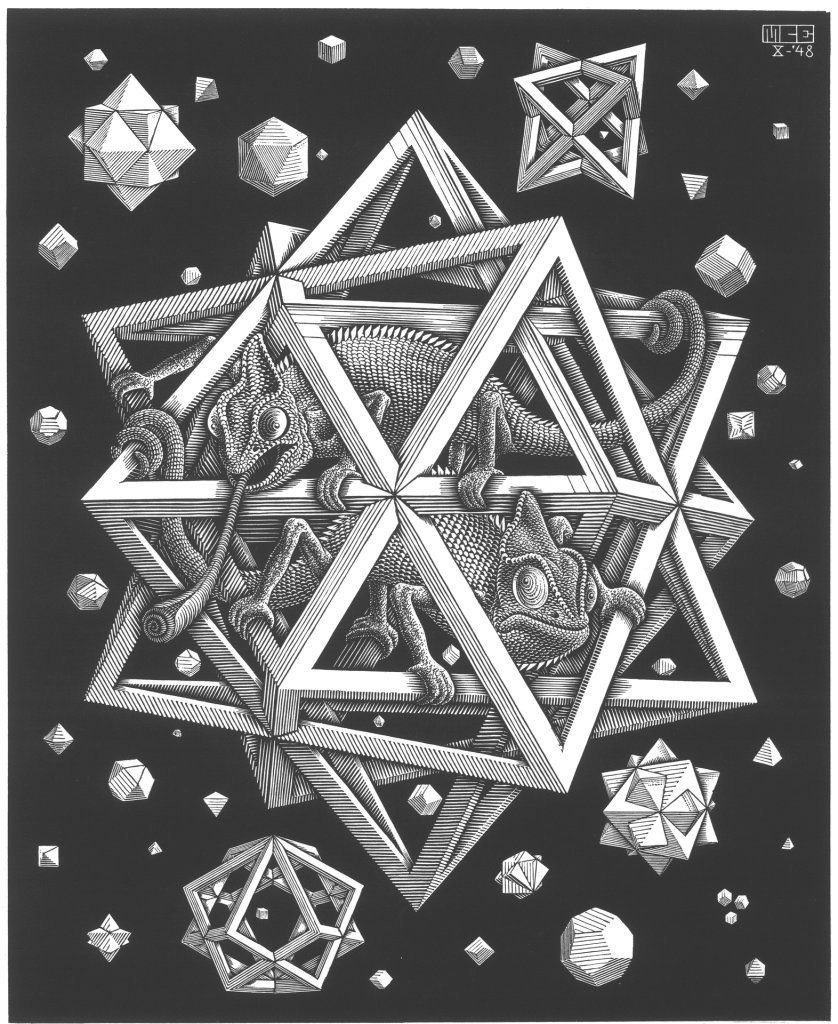 M.c.escher clipart water Polyhedron C M Escher Chameleon