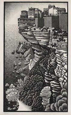 M.c.escher clipart winter October  Escher Scilla woodcut