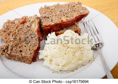 Meatloaf clipart dinner Fork with Meatloaf Potatoes with
