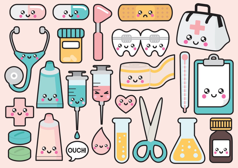 Medicine clipart cute Quality Clip Vector Kawaii