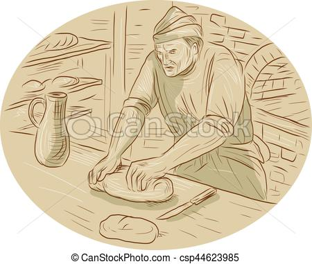 Bread clipart oval Kneading Bread Oval csp44623985 Drawing
